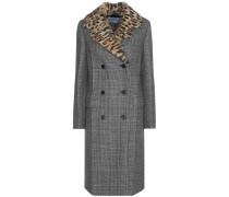 Karierter Mantel aus Schurwolle mit Fellkragen