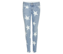 Skinny Boyfriend-Jeans mit Sternenprint
