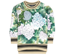 Printed embroidered cotton sweater