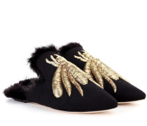 Slippers mit Faux Fur und Metallic-Applikation