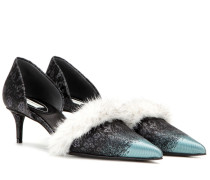 Kitten-Heel-Pumps mit Nerz