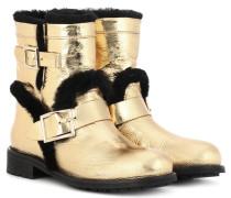Ankle Boots Youth aus Metallic-Leder mit Pelz