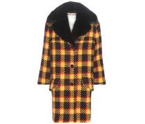 Karierter Mantel aus Wolle mit Fellkragen