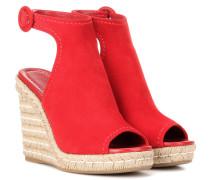 Espadrille-Sandalen aus Veloursleder mit Keilabsatz