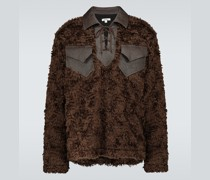 Sweatshirt aus Mohair und Leder