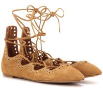 Verzierte Ballerinas Leo aus Veloursleder