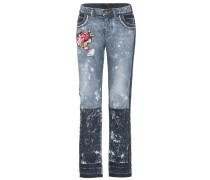 Bestickte Distressed Jeans