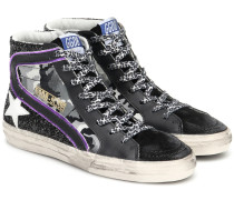 High-Top-Sneakers Slide aus Leder