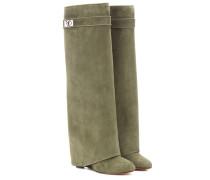Wedge-Stiefel Pant aus Veloursleder