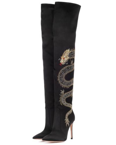 Overknee-Stiefel aus Satin