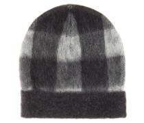 Karierte Mütze aus einem Wollgemisch