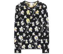 Verzierter Pullover aus Schurwolle mit Blumenprint