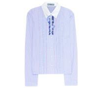 Gestreifte Bluse aus Baumwollpopeline mit Rüschen