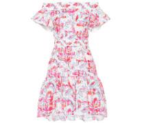 Bedrucktes Schulterfreies Kleid aus Cloqué