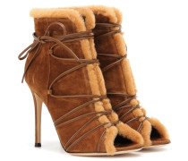 Open-Toe-Booties Aspen aus Veloursleder mit Fellimitat
