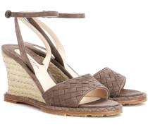 Sandalen aus Intrecciato-Veloursleder