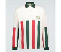 Langarm-Poloshirt mit Webstreifen