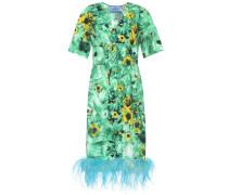 Bedrucktes Kleid mit Federn