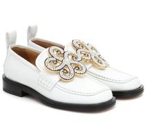 Loafers aus Leder mit Zierperlen