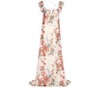 Bodenlange Robe aus Seidengeorgette mit Rosenprint