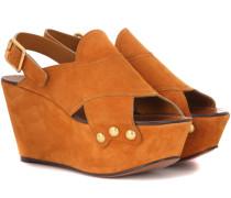 Wedge-Sandalen aus Veloursleder