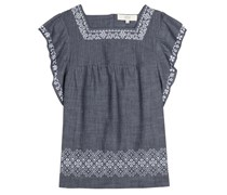 Bestickte Bluse aus Baumwoll-Chambray