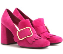 Loafer-Pumps aus Veloursleder