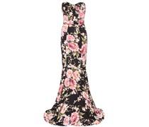 Robe aus Seidengemisch mit floralem Print