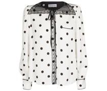 Bluse mit Polka-Dots und Spitze