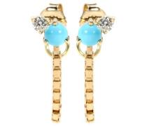 Ohrringe aus 18kt Gelbgold mit Türkisen und Diamanten