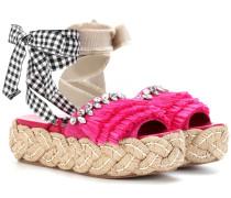 Plateau-Slippers mit Verzierung
