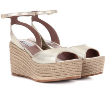 Wedges Tessa aus Metallic-Leder