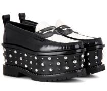 Nietenverzierte Plateau-Loafers aus Leder