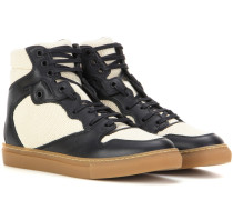 High-Top-Sneakers mit Leder