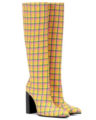 Karierte Stiefel aus Schurwolle