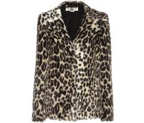 Blazer aus Faux Fur mit Leopardenprint