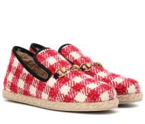 Loafers aus kariertem Tweed