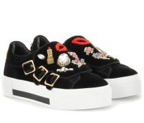 Verzierte Plateau-Sneakers aus Samt