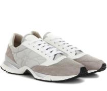 Sneakers Paper Effect aus Glatt- und Veloursleder