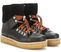 Ankle Boots Mira aus Veloursleder und Leder mit Shearling-Futter