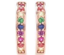 Ohrringe Rainbow Small Huggie Hoops aus 14kt Roségold mit Saphiren, Rubinen und Smaragden