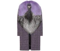 Tweed-Mantel aus Schurwolle mit Pelzkragen