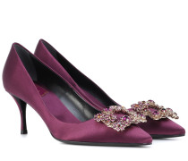 Pumps Flower Strass aus Seidensatin