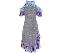 Bedrucktes Kleid aus Seide mit Volants