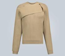 Asymmetrischer Rippstrick-Pullover