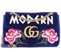 Schultertasche GG Marmont Medium aus Samt