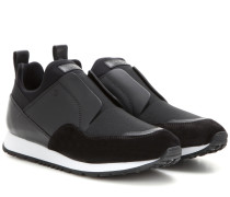 Sneakers aus Veloursleder und Leder mit elastischen Einsätzen