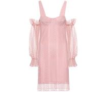 Schulterfreies Kleid aus Tüll mit Stickereien