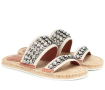 Verzierte Espadrille-Sandalen