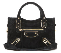 Schultertasche Classic Metallic Edge Mini City aus Veloursleder